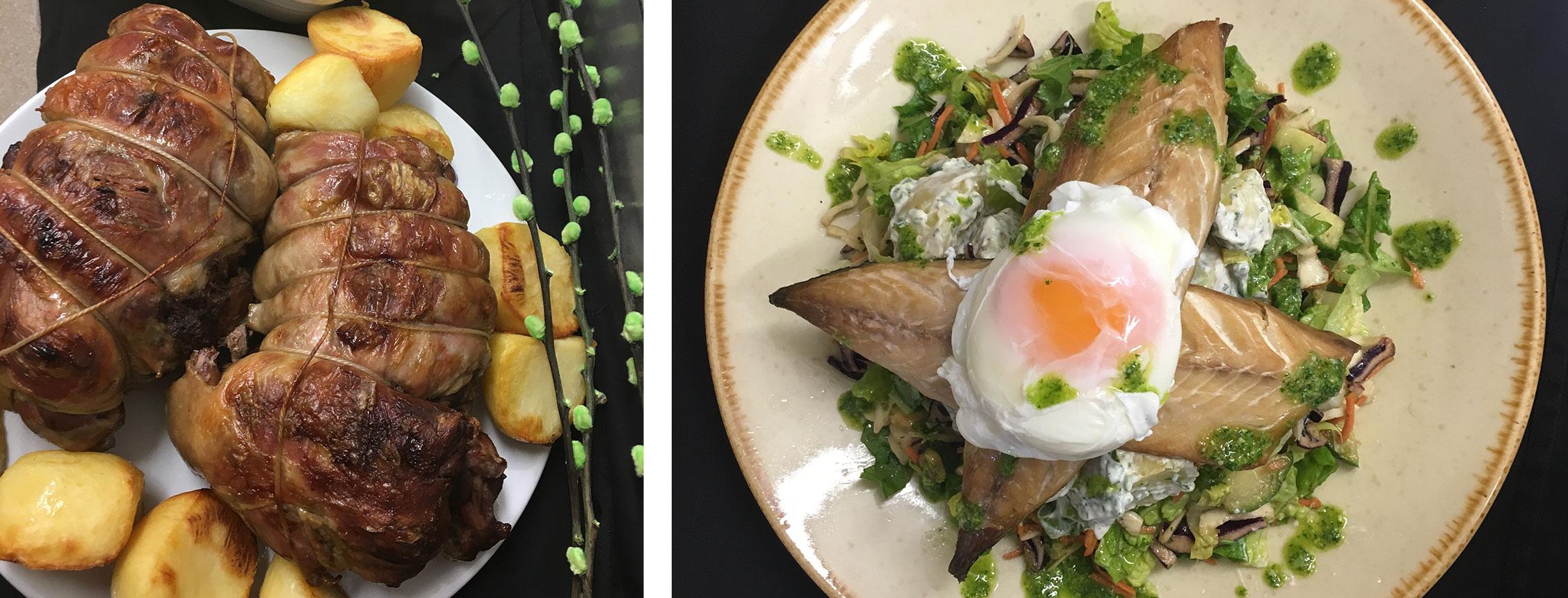 fish and egg - roast dinner